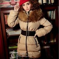 Free shipping! new 2013 winter  fur collar slim medium-long women thickening  thermal down coat jackets putwear parkas belt A311