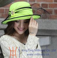 Free Shipping 2014  Kentucky Derby Women's Fashion New Wide Birm Black Floppy Feather Jewelry Bow Fedoras Formal Hat Green