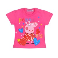 5003 hot pink/white Peppa Pig T-shirt Children short-sleeve T shirt Girls summer Clothes Girls Tees 100% Cotton