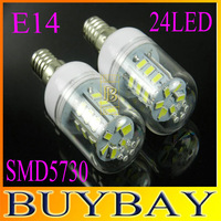 High brightness 2pcs/lot 24 LEDS SMD 5730 LED corn bulb lamp, 9W E14 LED spotlight 220V Warm white/ white led lighting