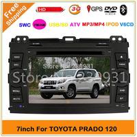 Free Shipping!TOYOTA PRADO120 Car DVD with GPS Navigation TV Radio Video 3G +Russia map+Russia Menu Free map