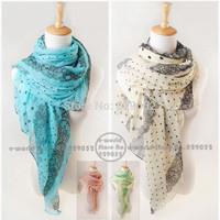 Free Shipping Fashion Chiffon Dot Print Scarf Long Large Scarves Designer Autumn Winter Lace Shawl Wraps Women Scarfs A3573
