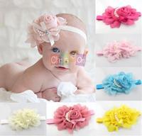 Baby Child Hair Accessories Pearl Rose Flower Headwear Stretchy Hair Band Headband