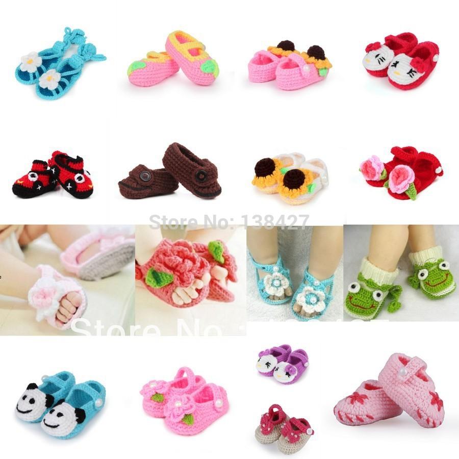 Lovely Brand Newborn Baby Infant Soft Handmade Crochet Knit Flower Crib Shoes Slipper Boy Girl kids First Walkers Free Shipping(China (Mainland))