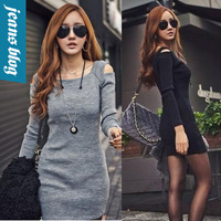 Hot Fashion Sexy Women Long Sleeve Dress Fashion Slash Neck Dress Natural Lady Dress YJQX 848