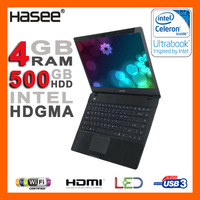 "BRAND NEW 14"" LED Display 4GB RAM Intel Celeron dual-core 1007U 1.5GHz Ultrabook 500G HDD Intel HDGMA HDMI WiFi Webcam USB3.0"