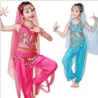 Fashion New Girl Bellydance Costume for Girls Belly Dance Top Pants Dancing Belt Veil Bracelet Free Shipping C