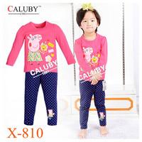 Boys Peppa George Pajamas Sets Children Autumn -Summer Clothing Set New 2014 Wholesale Kids Cartoon LongSleeve Pyjamas X-619