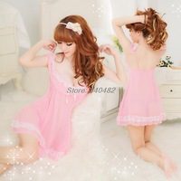 Free Shipping HOT Pink skirt with G-string sleepwear,sexy underwear,pyjamas women,sexy costumes for women Sleepshirt