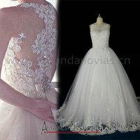 2014 Amanda Noivas Cap Sleeve Vintage Pearls Puffy Ball Gown Wedding Dress Real Photos NS470