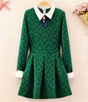 Vintage neckline bow turn-down collar print baroque elegant slim waist autumn and winter vest basic one-piece dress