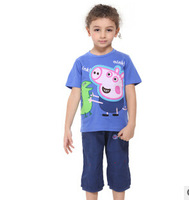 retail 100%cotton peppa pig clothing boys t shirt  quality Embroidery fashion sport short sleeve children t-shirt boys clothes