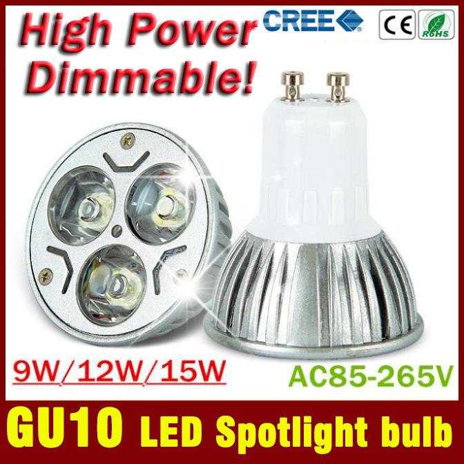 2 pcsfree envío de alta potencia del cree led lámpara regulable gu10 9w 85-265v punto de luz led spotlight bombilla led downlight iluminación