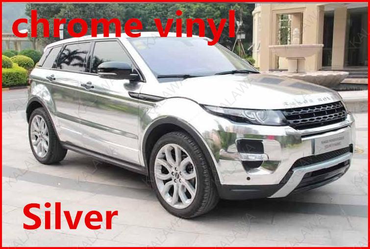 1 pc 1.52*0.5M Silver chrome vinyl chrome car wrap electroplate vinyl film chrome car sticker with bubble free FREESHIPPING TTT(China (Mainland))