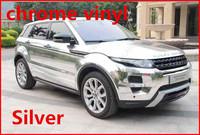 1 pc 1.52*0.5M Silver chrome vinyl chrome car wrap electroplate vinyl film chrome car sticker with bubble free FREESHIPPING TTT