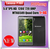 Lenovo P780 Quad Core android phones MTK6589 1.2GHz 5.0 inch HD 1280x720p Gorilla Glass Screen 1GB RAM 8.0MP 4000mAh battery