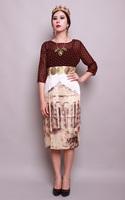 2014  Summer Fashion Runway European Brand New  Dot Patchwork Printed Roman Architecture 3/4 Sleeve Mid-Calf Dress