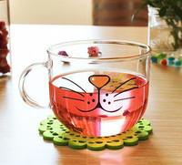 Free shipping Creative Transparent Cat glass mug cute kawaii Borosilicate glass cup zakka novelty drinkware