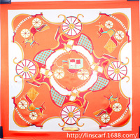 (MIN ORDER $10) The chain carriage Scarf for Women New Arrival Style orange Color Lady's Soft Silk Scarf
