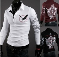 Freeshipping 2013 Europe and the United States wind eagle tattoo printed long sleeve collar POLO unlined upper garment