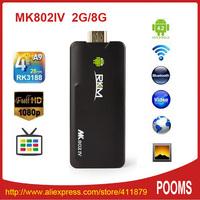 Rikomagic MK802IV RK3188 Quad Core Android Mini PC Smart TV Box Bluetooth 2GB DDR3 8GB Flash A9 HDMI PC Stick