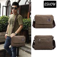 Eshow Messenger Bags Men Shoulder Bags Brown Vintage Canvas Man Bag Crossbody BFK1101