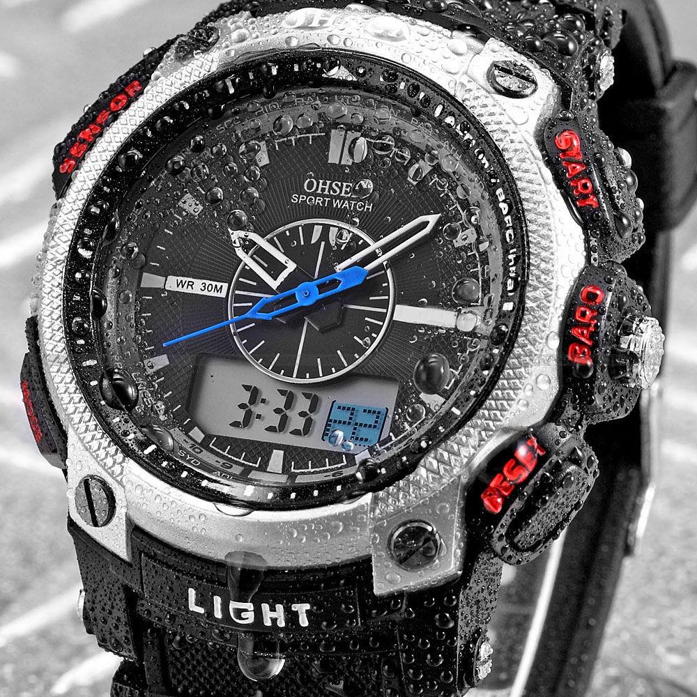 OHSEN Brand LCD Date Alarm White Silicone Strap Clock Relogio Masculino Quartz Wristwatch Men Military Digital Male Watch/OHS050(China (Mainland))
