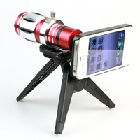 12.5x Zoom Telescope Phone Camera Lens Kit Tripod Case for Iphone 4s 4