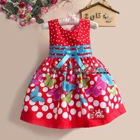 Retail 2014 NEW  Christmas Girl Princess Dress DOT Girls Floar, Infant Party Dress Baby Clothes,children flower dress