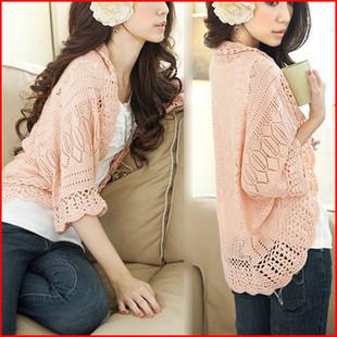 2014 women fashion Sweaster Crochet Knit Top Shawl Batwing Sleeve Hollow Out Cardigan Sweater(China (Mainland))