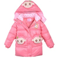 [CA] Winter girls clothing children down coat cotton clothes jacket outerwear & coats  baby outerwear leather clothing new 2014