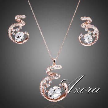 Азора уникальный дизайн роуз позолоченные Stellux австрийский хрусталь ожерелье и серьги комплект ювелирных изделий TG0058