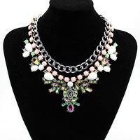 2014 New Women Luxury  Vintage Statement Jewelry Crystal  Rhinestone  Costume Queen Jewelry Silver Chain