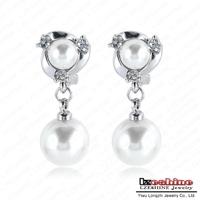 LZESHINE Brand  Pendant Earrings New Arrival Wedding Earring Jewelry Double Pearl Earrings For Women Free Shipping ER0280-A