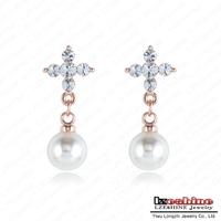 LZESHINE Brand White Pearl Drop Earing Fashion Genuine Austrian Crystal SWA Element Pearl Cross Shape Wedding Earring ER0289-A