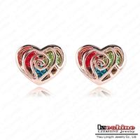 LZESHINE Brand Heart Earrings Stud Earring 18K Rose Gold Plated SWA Elements Crystal Women Earrings Free Shipping ER0292-A
