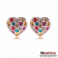 LZESHINE Brand Beautiful Earrings Multicolour SWA Element Austrian Crystal Earring Heart Stud Earrings Free Shipping ER0293-A