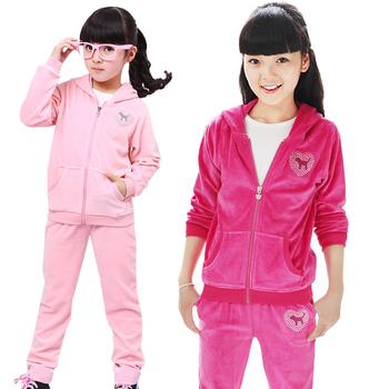 2015 новый осень зима детская одежда комплект девочка велет спортивный костюм дети ...