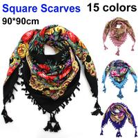 2014 New Winter Fashion Ladies Tassels Big Square Scarf Flowers design  Women Brand  Hot Sale Free Shipping