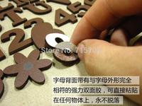 Vintage Retro Finishing Small Wooden Letter For Shop Plaque Brown Home Letter Sticker Decoration3cm High 26Pcs/lot