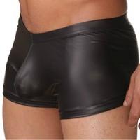 underwear men sexy faux leather Men's fashion boxers shorts Man panties brand tight boy High quality nylon satin nylon boxer