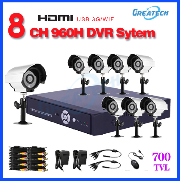 8 Channel H.264 DVR CMOS 700TVL Outdoor night vision Camera and Waterproof IR Camera security System 8CH dvr CCTV System KIT(China (Mainland))