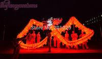 10m Length Size 3 silk print fabric  Red LED light  Chinese DRAGON DANCE ORIGINAL  Folk Festival Celebration Costume