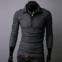2013 New Men's T-Shirts,turn-down collar slim male long-sleeve shirt