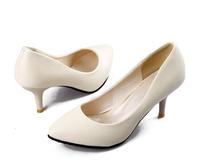 hot sale 2014 new female shoes casual women high heels shoes sweet beige pink ladies women pumps luxury brand plus size 42 41 43