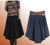 2014 Autumn Winter Mid-Calf Wool Skirt Woolen Skirt For Women large size high waist thicken long pleated skirts free shipping