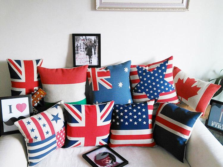 Designed national flag decor sofa pillowcase UK USA star Australia Maple leaves Poland country flag cushion cover for new house(China (Mainland))
