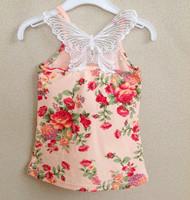 wholesale 2013 Fashin floral  T-shirts girls tops for children gallus cotton lace vest 2 colors for summer