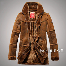 2014 Winter Suede Leather Jacket Men Faux Fur Coat  Military Luxury Fahion Outdoors Thicken Warm Long Trench Coats Outerwear(China (Mainland))