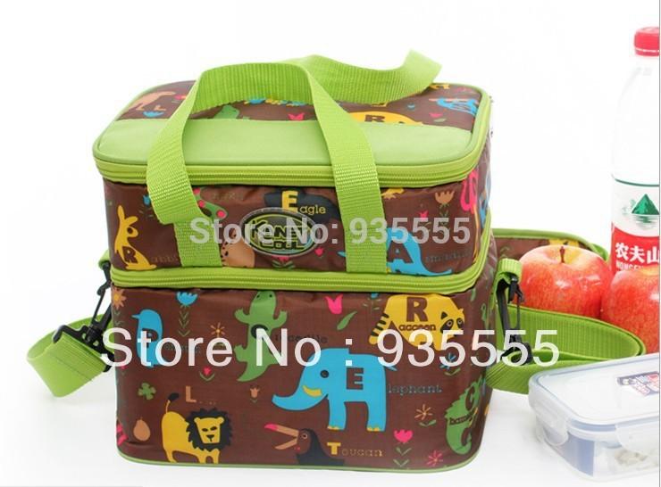 Envio -2014 grátis nova chegada de venda quente dois andares Almoço Thermos Duplas saco para o saco Caso Verão Ice cooler(China (Mainland))